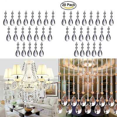 Chandelier Crystals 20PCS Teardrop 38Mm Crystal Pendants Beads For Chandeliers C