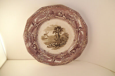 Antique Wooliscroft Eon Staffordshire Mulberry & Black Transfer Plate