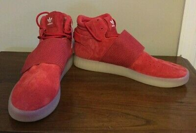ADIDAS RED SUEDE Tubular Invader Strap Mid Top Basketball Shoes Size 13 NWOB