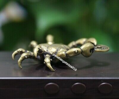 5 CM Chinese Pure Bronze river crab get rich Money Coin Fengshui Wealth Pendants