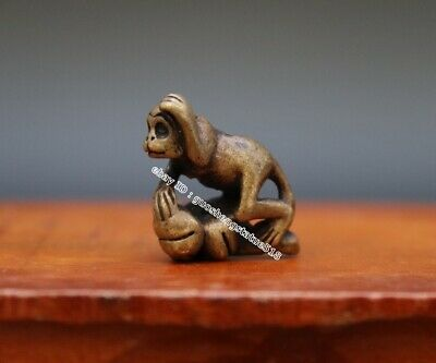 2.5 CM Pure Bronze Copper Chinese Zodiac Animal Monkey Peach Tree Amulet Pendant