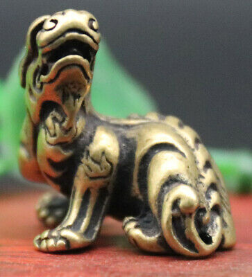 3 CM China Pure Bronze Fengshui Animal Lucky Foo Dog Lion Guardian Beast Statue
