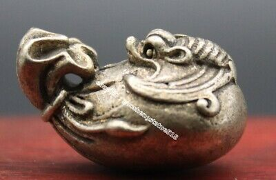3 CM Chinese Miao Silver Wealth Blessing Money Sack Bat lucky Amulet Pendant