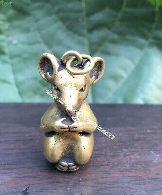 3.5 CM Pure Bronze Chinese Zodiac Animal Mouse Rat Mice Statuette Amulet Pendant