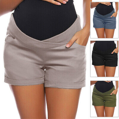 Womens Shorts Ladies Maternity Pregnant Low-rise Elastic Casual Summer Solid