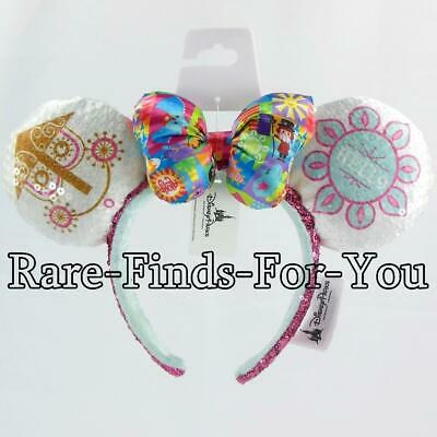 Disney Parks Minnie Mouse It's A Small World Sequin Ear Satin Bow Headband (NEW)