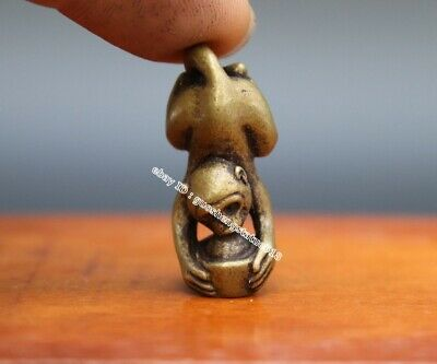 3.5 CM Pure Bronze China Zodiac Animal lucky Monkey Statue Wealth Amulet Pendant