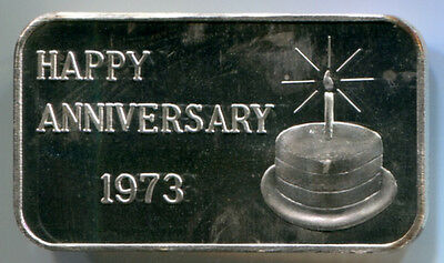 "Happy Anniversary ""Cake"" 1973 1 Troy oz .999 Fine Silver Art Bar Crabtree Mint"