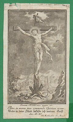 DEATH JESUS CHRIST CRUCIFIED, SKULL, SERPENT 65x114mm Antiq 18th Cent ENGRAVING
