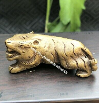 4.5 CM Chinese Bronze Amulet Pendant Counteract Evil Force Zodiac Animal Tiger