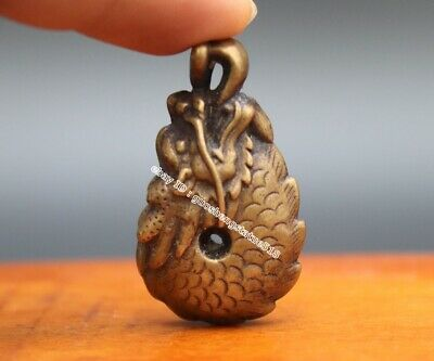 4 CM Pure Bronze China Zodiac Animal Dragon Counteract Evil Force Amulet Pendant