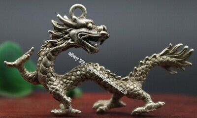 6 CM China Miao Silver Zodiac Animal Dragon Counteract Evil Force Amulet Pendant