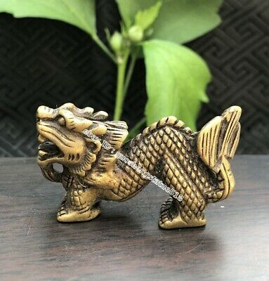 4.5 CM Chinese Bronze Amulet Pendant Counteract Evil Force Zodiac Animal Dragon