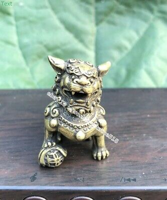 3.5CM China Pure Bronze Foo Dog Lion Play Ball Wealth Animal Beast Amulet Statue