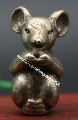 3.5 CM Miao Silver Chinese Zodiac Animal mouse Rat Statue Amulet sculpture