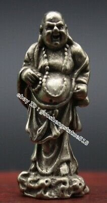 4 CM Chinese Buddhism Miao Silver be delighted Sack Monk Maitreya Buddha Pendant