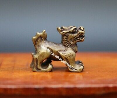 3 CM China Pure Bronze Foo Dog Lion kylin Pi xiu Wealth Animal Amulet Sculpture