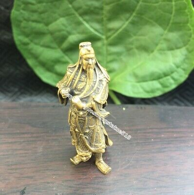 5 CM Chinese ancient hero pure Bronze Guan Gong Guan yu warrior Buddha Statue