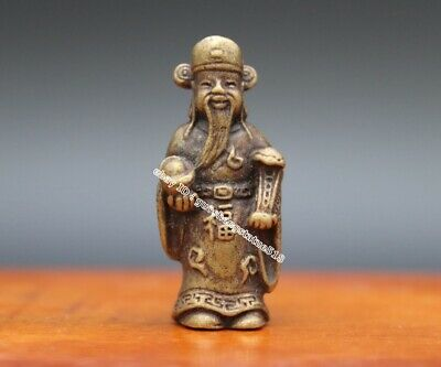 4CM China pure Bronze Copper Wealth God Fortune Mammon Fengshui Statue Sculpture