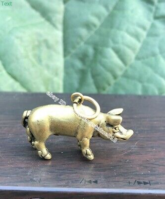 3.5 CM Chinese Pure Bronze Zodiac Animal Pig Hog Swine Sculpture Amulet Pendant