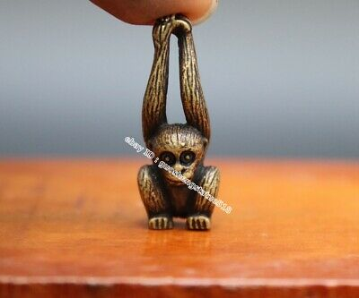 3.5 CM Chinese Zodiac Animal Long arm Monkey Pure Bronze Amulet Pendant Necklace