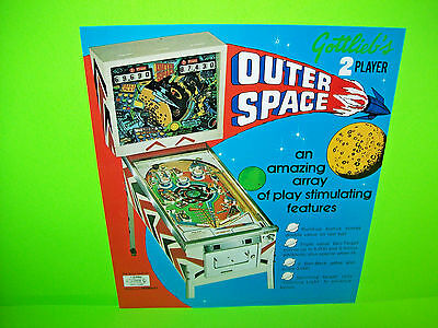 Gottlieb OUTER SPACE Original 1972 Flipper Game Pinball Machine Flyer Trimmed