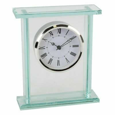 NEW Contemporary Solid Clear Glass Mantel Clock Silver Bezel Roman Numeral Dial