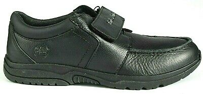 Junior Boys Childrens Kids Timberland 1 strap Casual Black Leather Shoes Size