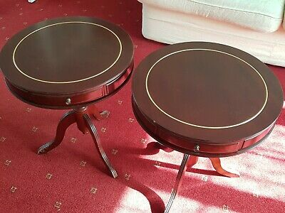 Vintage Retro Pair of small round tables with 3 drawers