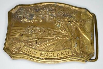 VTG NEW ENGLAND Country Road Scene Brass Belt Buckle Indiana Metal Craft G96