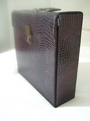 "Vintage faux Snakeskin Vinyl LP 12"" Record Case Storage Box great condition"