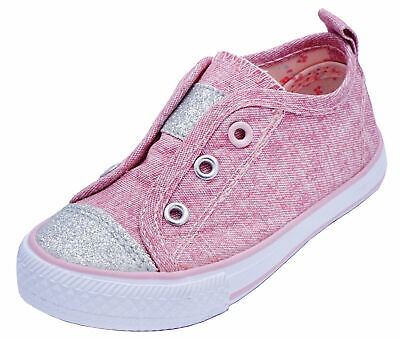 Girls Kids Childrens Pink Canvas Slip-On Glitter Plimsoll Pumps Shoes Sizes 3-1
