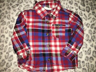 Boys 12-18 Months Crazy 8 Red White Blue Plaid Button Up Collared Long Sleeve To