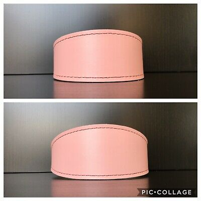 LINED Leather Dog Collars Whippet Lurcher Greyhound Sizes S/M, L - BABY PINK