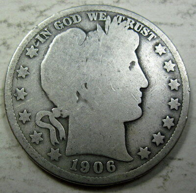 1906 silver Barber Half Dollar Collector Coin - circulated (#816c)