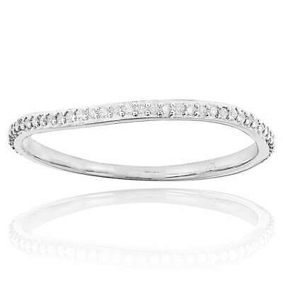 Luxurman 14K Gold 1/5ct TDW Thin Stackable Diamond Band Ring