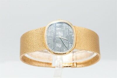 RARE $25,000 Patek Philippe METEORITE DIAL 18k Yellow Gold Mens Dress Watch 96g