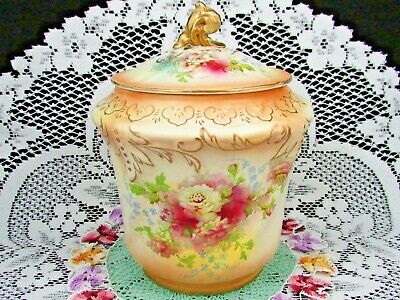 Antique S. Fielding & Co. White Roses Blush Tone Embossed Biscuit Jar