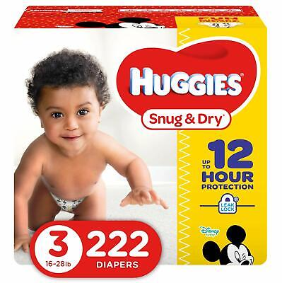 Huggies Snug & Dry Baby Diapers Size 3 222 Count