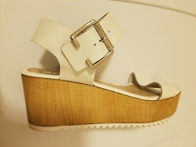 971b7d499eb Steve Madden Nylee Sandals Womens Sz 8 white Leather Platform Wedge Shoes