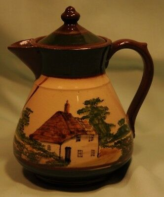 Longpark, Devon pottery, Thatched Cottage with Nice Motto. Good condition