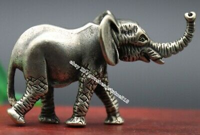 6 CM Chinese Miao Silver Elephant Auspicious Lucky Wealth Fengshui Animal Statue