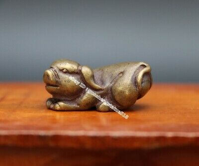 3.5 CM Pure Bronze Chinese Zodiac Animal Pig Hog Swine Sculpture Amulet Pendant