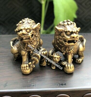 2.7 CM China Pure Bronze Foo Dog Lion Beast Animal Wealth Amulet Sculpture pair
