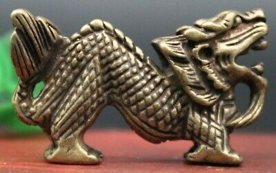 4.5 CM China Bronze Zodiac Animal Dragon Counteract Evil Force Amulet Pendant