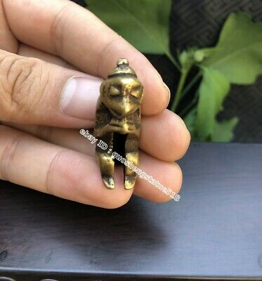 3.5 CM Pure Bronze Chinese Zodiac Animal lucky pray Monkey Wealth Amulet Pendant
