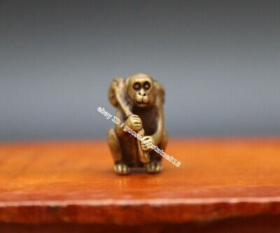 2.5 CM Pure Bronze Copper Chinese Zodiac Animal Monkey Two Peach Amulet Pendant