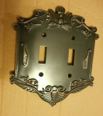 Art Deco Nouveau heavy cast copper switch plate antique dark bronze finish   (W3