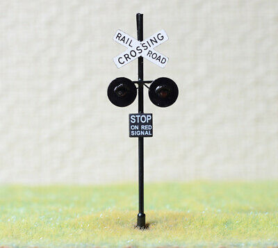 1 x OO Scale railroad grade crossing signal LED made 2 target faces black #X