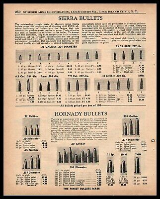 1955 SIERRA AND HORNADY Bullets Ammunition Chart PRINT AD w/original prices